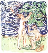 Česání jablek. Barevná litografie. 1916. 54,1 × 49,7.