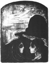 Milenci na pobřeží. Litografie. 1896. 48 × 36.