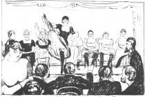 Kabaret (Academy of Music, Fridrichova ulice v Belíně). Litografie. 1895. 44,6 × 63.