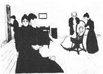 V pokoji zesnulé. Litografie. 1896. 38,5 × 55.