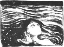 Milenci v kadeřích. Litografie. 1896. 31 × 41,9.