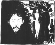 Žárlivost. Litografie. 1896. 47,5 × 57,2.