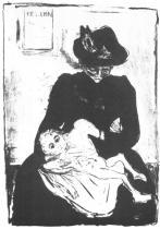 Dědictví (Matka s dítětem nakaženým syfilisem). Litografie. Asi 1897/99. 43 × 30,7.