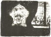 Ibsen v kavárně hotelu Grand v Kristiánii. Litografie. 1902. 43,5 × 59,3.
