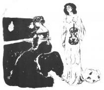 Houslový koncert (Bella Edvards a Eva Mudocci). Litografie. 1903. 47,3 × 54,3.
