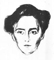 Portrét Schwarzovy manželky. Litografie. 1906. 26,7 × 24,6.