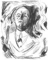 Autoportrét s cigaretou. Litografie. 1908/09. 56,4 × 45,7.
