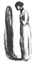 Melancholie (Nemocná). Litografie. 1908/09. 24,9 × 11,7.