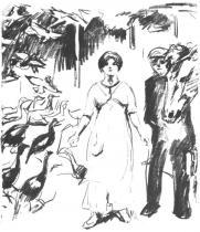 Děvče a chlapec v drůbežárně. Litografie. 1912. 44,6 × 37,6.