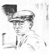 Mladý čeledín. Litografie. 1912. 35 × 30,5.