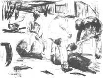 Kopající dělník. Litografie. 1920. 43,5 × 59,2.
