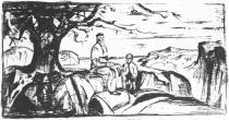 Příběh. Litografie. 1914. 41,7 × 78,6.