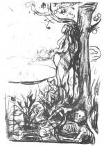 Těhotná, spojení se stromem. Litografie. Asi 1915. 68 × 46.