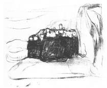 Strach. Litografie. Asi 1915. 22 × 29.