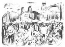 Zemdlelý dav na Frankfurtském nádraží. Litografie. 1922. 30 × 40,5.
