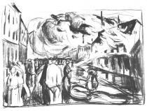 Požár. Litografie. 1920. 54 × 74.