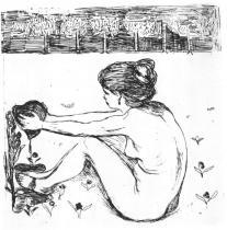 Dívka a srdce. Lept. 1896. 23,6 × 23,7.
