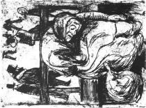 Stará žena na lavičce. Lept. 1902. 20 × 14,9.