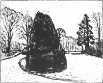 Zahrada. Lept a suchá jehla. 1902. 49,6 × 64,6.
