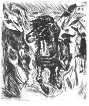 Splašení. Lept. 1915. 38 × 32,9.