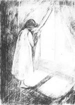 Dívka u okna. Suchá jehla. 1894. 22 × 15,7.