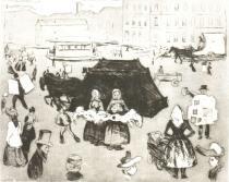 Postupimská náves. Suchá jehla a akvatinta. 1902. 23,8 × 29,6.