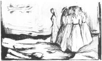 Dívky na pobřeží. Suchá jehla. 1907. 12 × 18.