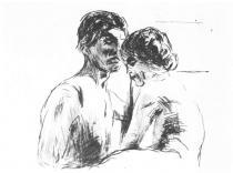 Dva lidé. Suchá jehla. 1913. 17,8 × 23,9.