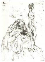 Stáří a mládí. Uhel. 1909. 38,5 × 30,6.