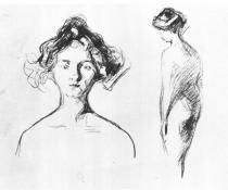 Potrét a chodící akt. Tuha. 1906. 53,8 × 67,8.